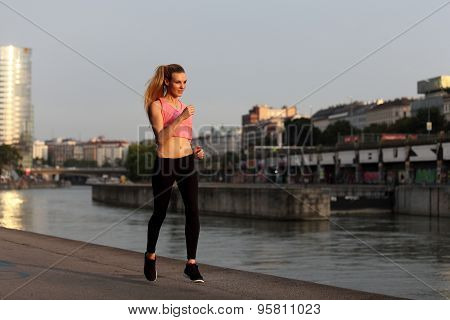 Beautiful girl running