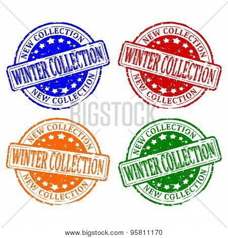 Damaged Colorful Stamps - Winter Collection