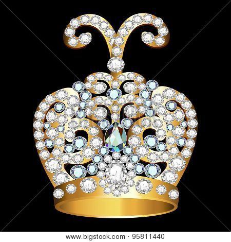 Crown Of Gold  And Precious Stones On Black