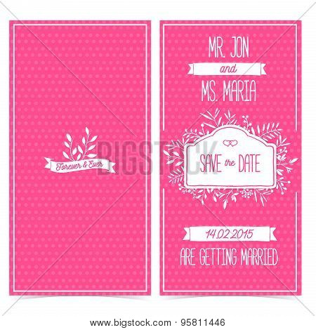Set of vertical cards, invitation or greeting cards for the wedding. Save the date. Pink color with