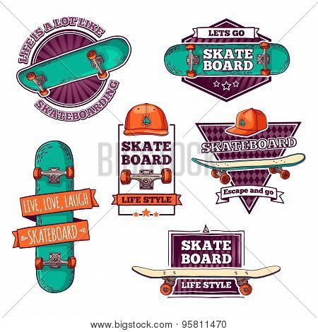 Set of vintage color logos, badges, badges, labels, stickers with skateboard and cap. Retro style. V