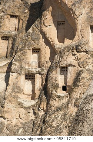 Detail of the ancient  homes dug into the mountains, Cappadocia, Turkey