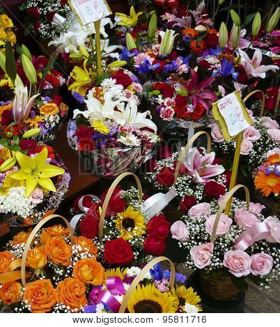 Market Flower Stall In Barcelona, Spain