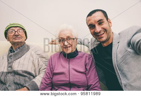 Happy Family Selfie With Grandparents.