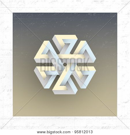 Unreal impossible geometric figure, vector element for design