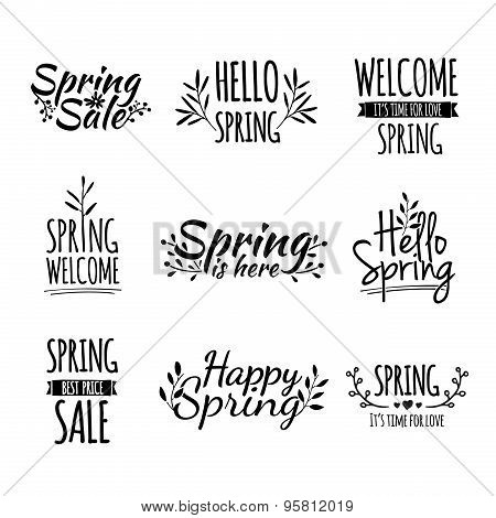 Set of monochrome retro vintage logos, icons, stickers with the text of the spring and floral elemen