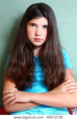Teen Beautiful Girl With Long Brown Hair Serious Look