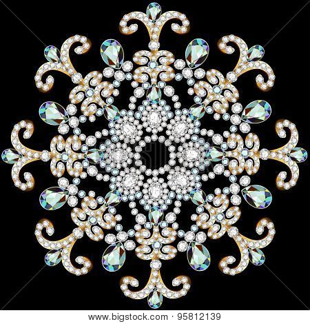 Illustration Shiny Snowflake Made Of Precious Stones On Black Background