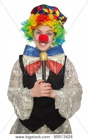 Female clown with maracas isolated on white