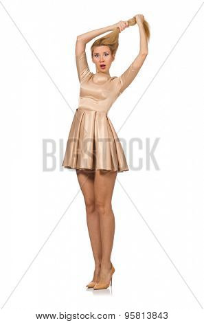 Pretty girl in satin mini dress isolated on white