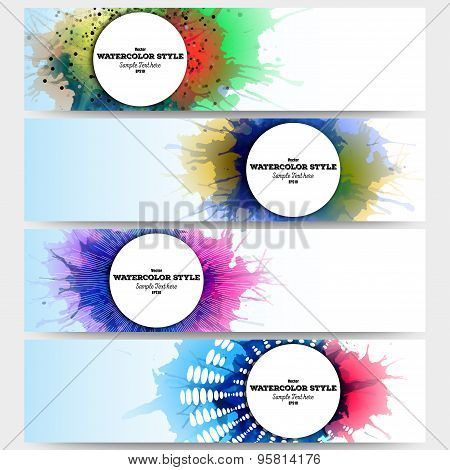 Web banners collection, abstract header layouts. Set of colorful headers with  watercolor stains and
