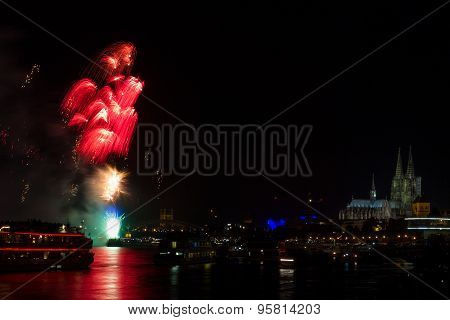 Colorful Firework Over The River Rhine