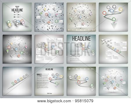 Set of 12 creative cards, square brochure template design. World map with pointer marks and other in