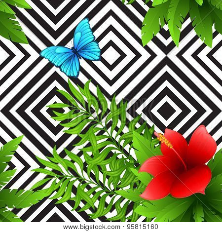 Vector hibiscus and palm leaves tropical pattern with blue butterfly, black and white geometric back