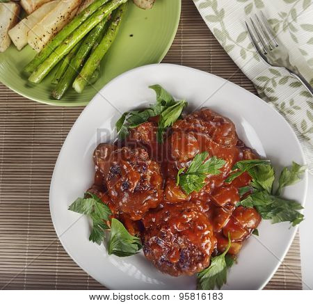 Salisbury Steak Patties With Roasted Asparagus And Potatoes