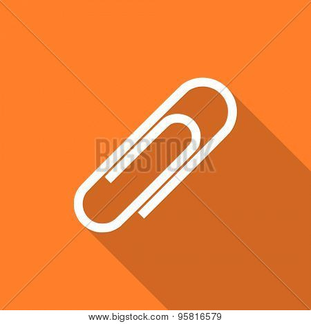 paperclip flat design modern icon with long shadow for web and mobile app