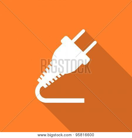plug flat design modern icon with long shadow for web and mobile app