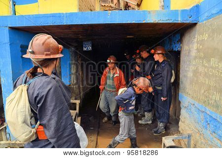 Tourists enter Cerror Rico silver mine in Potosi, Bolivia