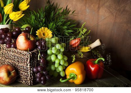 Traditional Basket Of Harvested Fruit And Vegetables