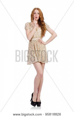 Pretty red hair girl in summer dress isolated on white