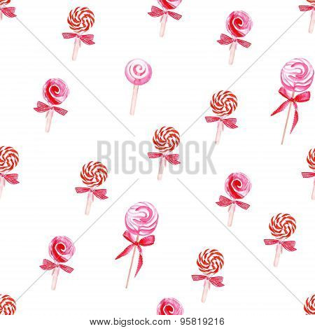 Red Lollypops Watercolor Seamless Vector Pattern