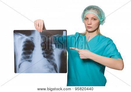 Woman  doctor examining x-ray image