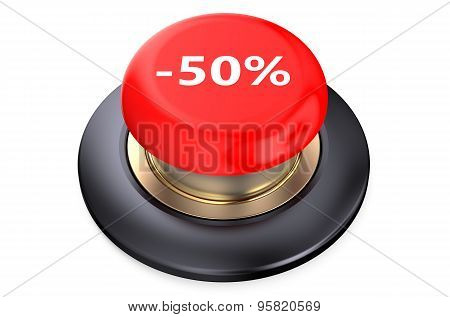 50 Percent Discount Red Button