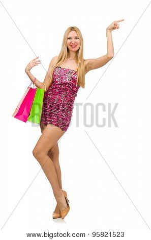 Young woman in strapless dress isolated on white