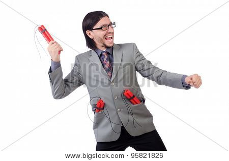 Young businessman holding dynamite isolated on white