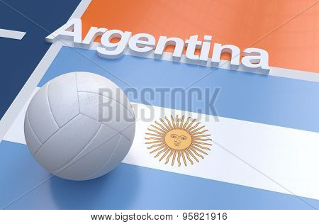 Flag Of Argentina With Championship Volleyball Ball