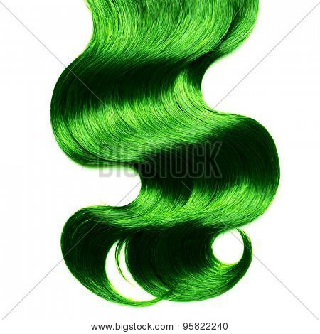 Curly green hair over white