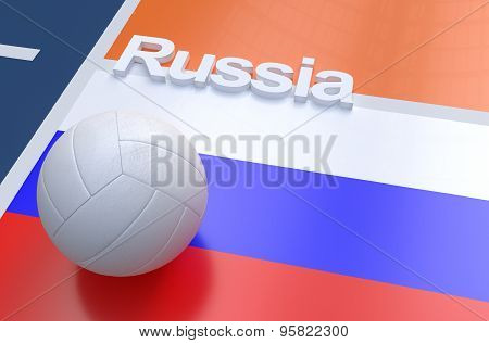 Flag Of Russia With Championship Volleyball Ball
