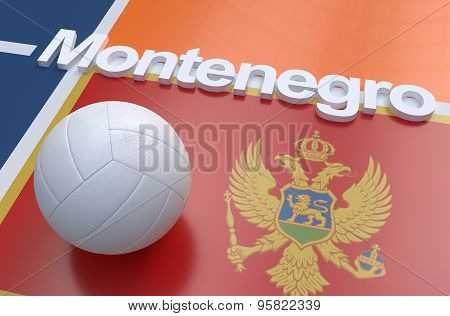 Flag Of Montenegro With Championship Volleyball Ball