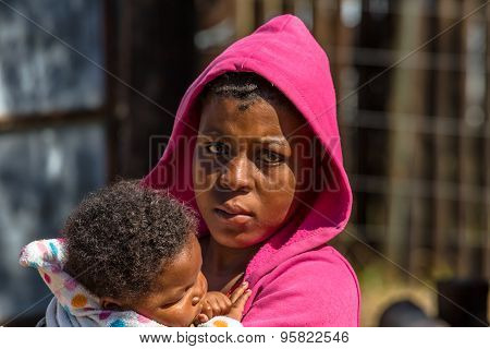 African girl with baby