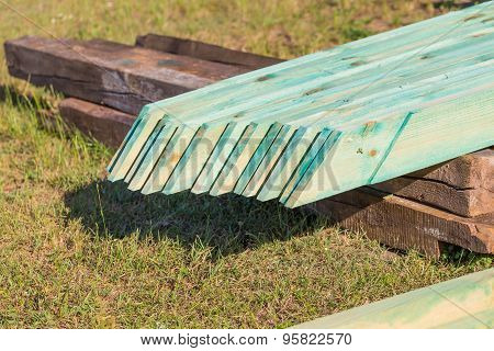 Wooden Planks From Sawmill For House Roof Construction