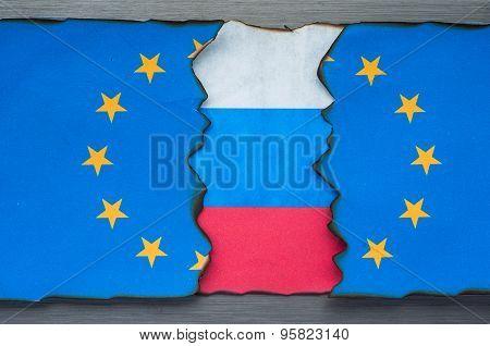 Russian flag behind European flag