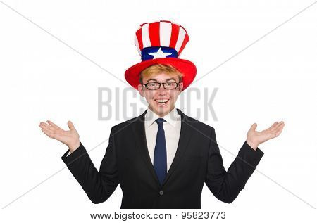 Businessman  with american hat isolated on white