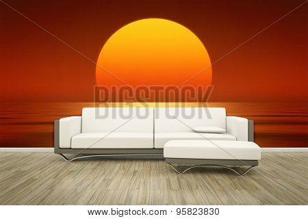 3D rendering of a sofa in front of a photo wall mural ocean sunset