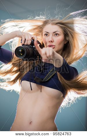Sexy Girl And A Camera