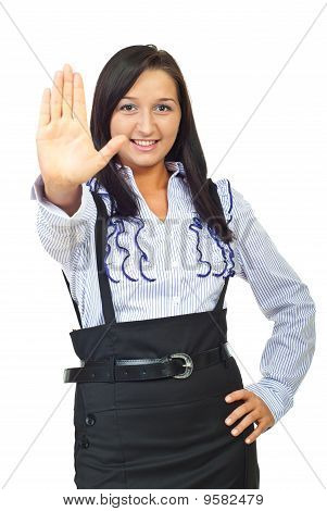 Young Executive Woman With Stop Hand Gesture