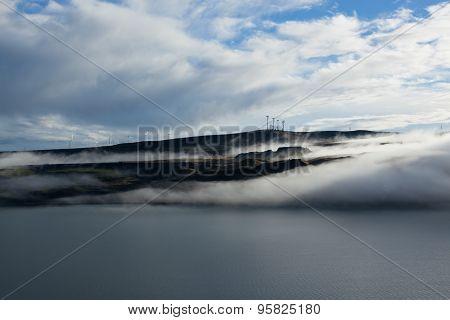 River Landscape With Fog