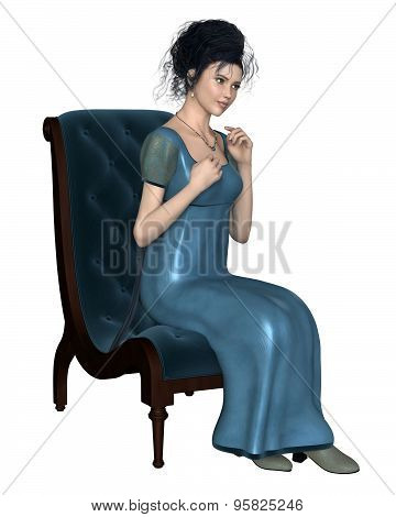 Regency Woman in Blue Dress Sitting on a Chair