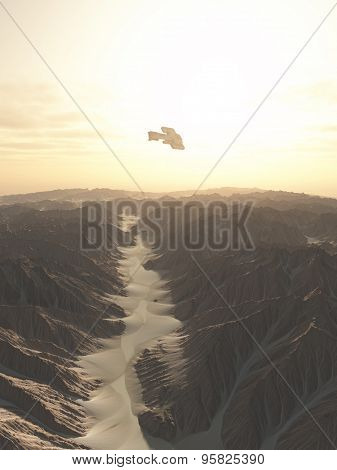 Spaceship Flying Over a Desert Planet