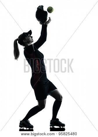one woman playing softball players in silhouette isolated on white background