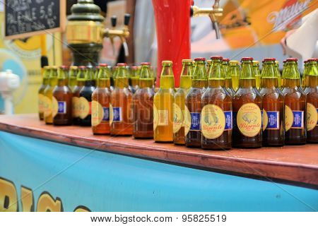 Bottles of beer at Beerfest by former German settlers in Chilean Patagonia