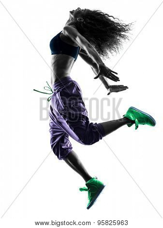 one african woman woman dancer dancing exercises  in studio silhouette isolated on white background