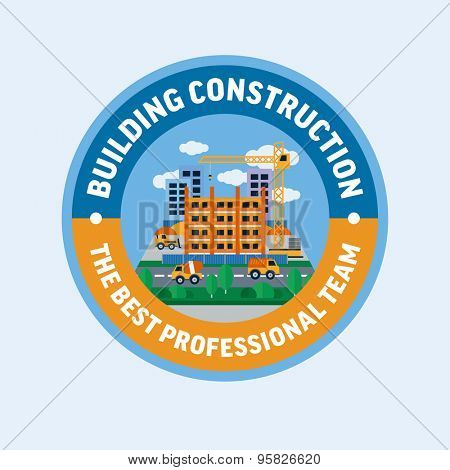 Building construction. Flat design vector