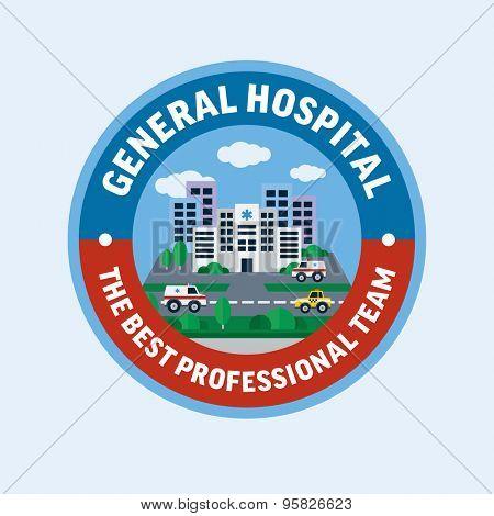 General hospital. Flat design vector