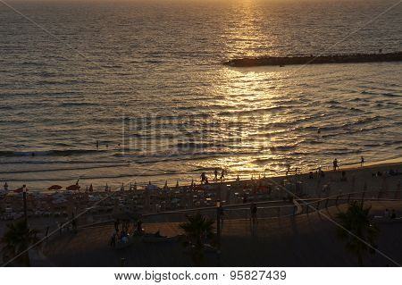 Sunset near the sea in Tel-Aviv