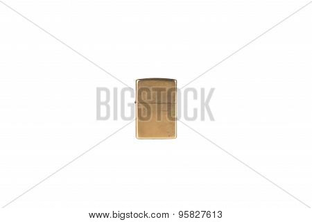 classic brass metal lighter isolated on white